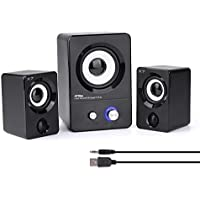 HTRise USB Powered Computer Speakers System (X7 Black) for Gaming/Music/Movies, Active Multimedia Stereo Subwoofer for Laptop/Desktop/Lenovo/HP/ThinkPad/IBM/DELL/SONY/MACFEE/SAMSUNG/ACER/Microsoft/PC