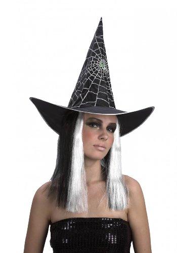Hexen-Perücke Halloween schwarz-weiß für Damen mit (Haaren Mit Schwarze Hexe Hut)