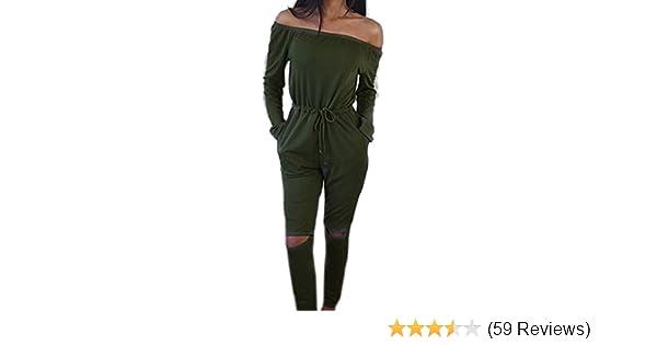 cfc29affae20e3 ECOWISH Langarm Sexy Hosenanzug Jumpsuit Damen Elegant Lang Hosen Trägerlos  Overall: Amazon.de: Bekleidung