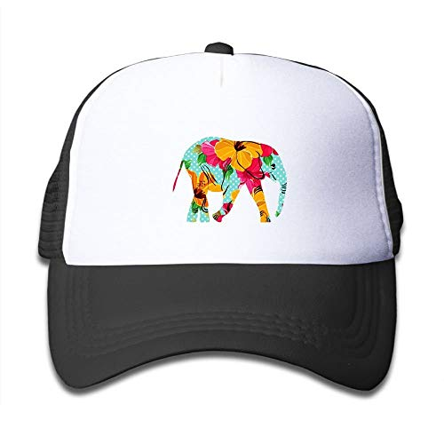 ghkfgkfgk Jiajialiu Mesh Back Trucker Cap Bright Colour Floral Elephant Adjustable Printing Cool Snapback Hat for Kids