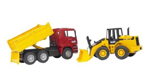BRUDER – 02752 – Camion benne MAN TGA rouge avec chargeur articulé FR 130 jaune