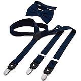 DonDon Herren Y-förmiger schmaler 2,5 cm Hosenträger elastisch und verstellbar im 2er Set mit farblich passender Fliege 12 x 6 cm - Dunkelblau