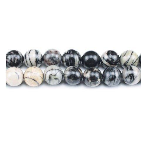 Fil De 45+ Gris/Noir Jaspe Veiné 8mm Perles Rond - (GS1648-2) - Charming Beads