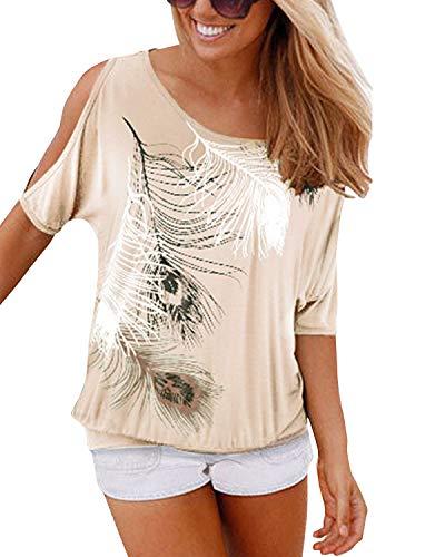 YOINS Bluse Damen Kurzarm Schulterfrei Oberteil Tops Damen Sommer Carmen Shirt Blumenmuster Feder-Weiß EU36-38 -