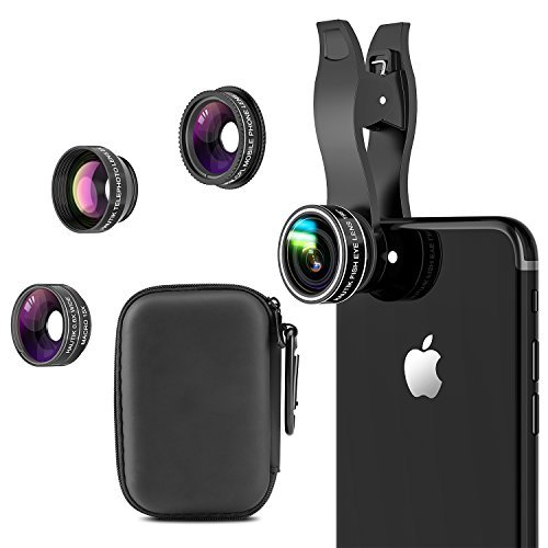 5 in 1 Handy Objektiv Set mit Geschenkbox, HAUTIK Fisheye Objektiv, 0.6X Weitwinkelobjektiv, 15X Makroobjektiv, 2X Teleobjektiv und Polarisato für iPhone X,iPhone 8/7/6/6s Plus,Samsung und Smartphones