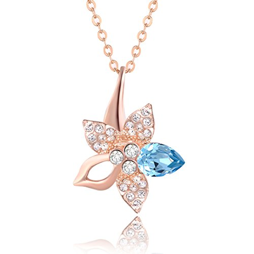 City Ouna® popolare e cristalli Swarovski blu cristallo fiore di Giglio d'oro placcato 18k collana per le donne