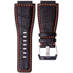Echtes Leder Uhrenarmband für Bell & Ross BR-01, Schwarzes mit orange, 24mm