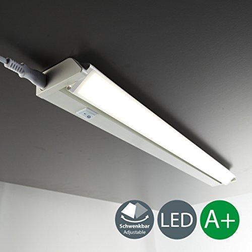 Luce sotto pensile cucina led, lampada moderna per l'illuminazione da interno, interruttore on off, 1 luce bianca, corpo plastica color bianco, incl. luci led integrate da 8,5w 230v ip20