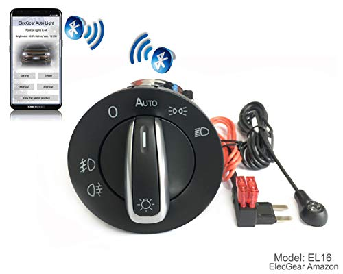 EL16 Auto Lichtsensor Bluetooth App Lichtschalter, KFZ Scheinwerferschalter Hauptlichtschalter Nebelscheinwerfer, Coming Leaving Home Modul – Cayenne 955 / 957 Base, S, GTS, Turbo S (7L5941531B) (Lichtschalter Installieren Dimmer)