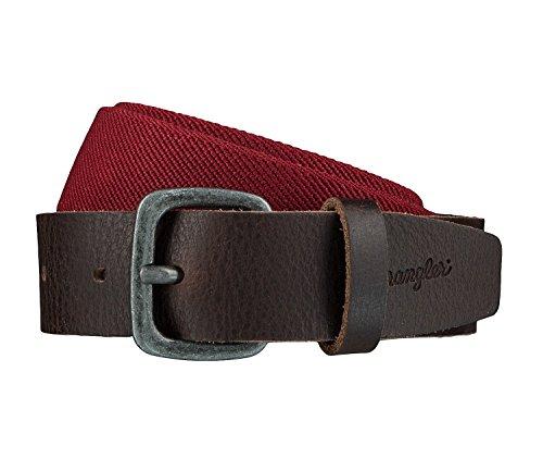 WRANGLER Gürtel Ledergürtel Herrengürtel Stretchgürtel Rot/Braun 4082, Länge:100 cm, Farbe:Rot (Leder Wrangler)