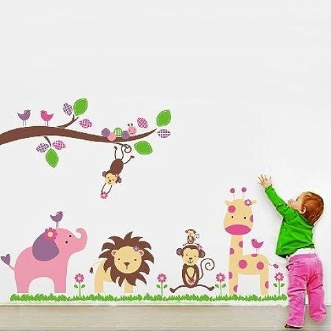 Andonger Animale Lion Giraffa scimmia Wall Stickers per i bambini della scuola materna da letto - Giraffe Scimmia