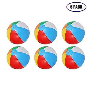 ThinkMax Wasserball Aufblasbar, 6 Stück 10  Badeball Schwimmball für Sommer...