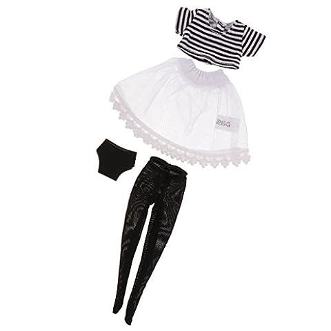 MagiDeal 1/6 Puppenkleidung Top + Strümpfe + Kleid + Unterwäsche Set für 12 Zoll Blythe Puppen