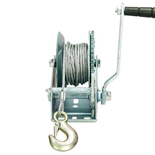ECD Germany Treuil manuel de levage Poulie à manivelle 456 kg avec 10m de câble