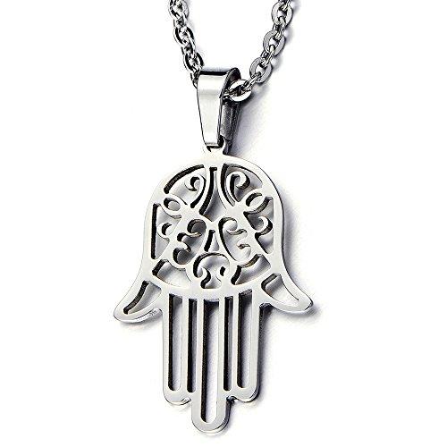 amsa Hand der Fatima Schutz Anhänger für Damen für Herren Edelstahl-Halskette mit 51cm Stahl Kette ()