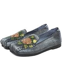 YNXZ-SHOE Damen Sandalen Runder Kopf Rindleder Flache Schuhe Stilvoll Und Komfortabel Flacher Mund Haspe Gummisohle...