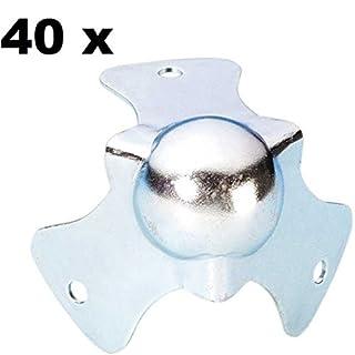 40x Adam Hall 4115 - Kugelecken klein 44 mm hoch, Stahl verzinkt, Kugel-Ecke