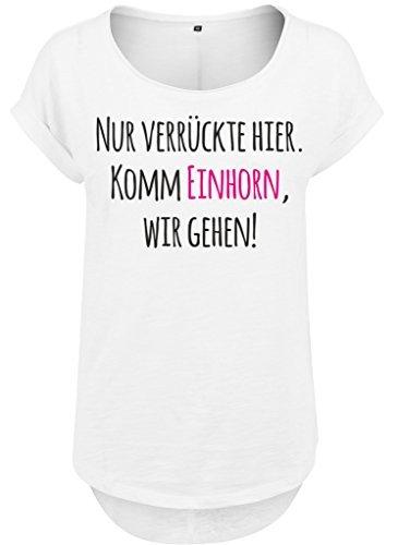Femmes femmes Long Jille t-shirt t-shirt d'été Haut pour femmes Licorne crazy Seulement fou ici. Komm licorne, nous aller Blanc