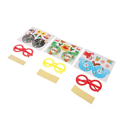non-brand 3er Pack kühle runde Brillengestell süße Briefpapier Kinder Geschenk Kawaii DIY Aufkleber Set Kinder Geburtstagsgeschenke kreatives Spielzeug - B090 A