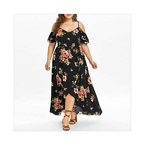 EXLEXD& 2019 Plus Size Women Casual Short Sleeve Cold Shoulder Flower Print Long Dress Butterfly Sleeve Asymmetrical Dress Black XXXL (Imgur-t-shirt)