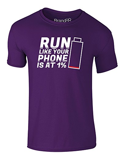 Brand88 - Run Like Your Phone Is At 1%, Erwachsene Gedrucktes T-Shirt Lila/Weiß