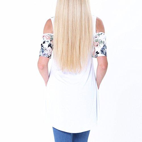 Sommer Frauen Bluse weg von der Schulter Short Sleeve Muster geblümt Tops loose Beiläufige T-Shirt Oberteile Weiß Orange