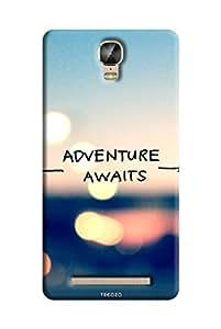 Tecozo Designer Printed Back Cover / Hard Case for Gionee Marathon M5 Plus (Adventure awaits quote case Design / Quotes/Messages)