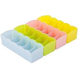 Multifunción Cinco rejilla plástico ropa interior calcetines corbatas organizador caso armario para cajón de escritorio caja de almacenamiento, juego de 3