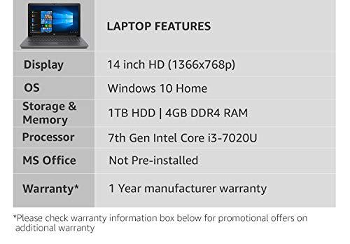 HP 14Q-CS0006TU Laptop (Windows 10, 4GB RAM, 1000GB HDD, Intel Core i3, Smoke Grey, 14.0 Inch)