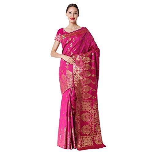 Makeway Self Design Pink Kanjivaram Jacquard Silk Saree (410-A)