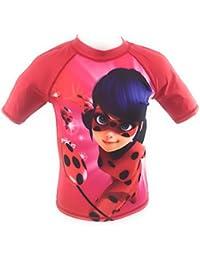Camiseta de Baño, traje de baño, Swim camiseta, protección UV30+ Lady Bug, Miraculous, Ladybug, rojo, 128 cm