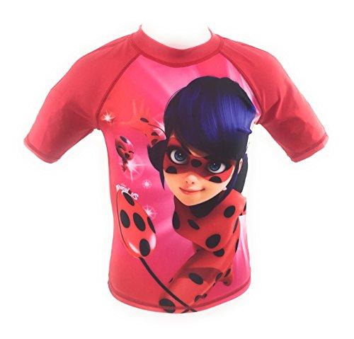 T-Shirt Bad, Badeanzug, Swim Shirt, Schutz UV30+ Lady Bug, Miraculous, Ladybug für 4-Jährige rot -