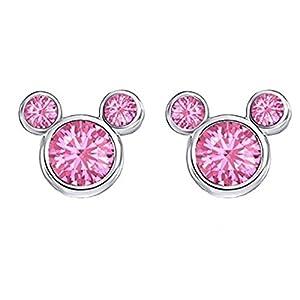 Findout Damen Sterling Silber Kubikzircon Amethyst weiß rosa Kristall Mickey Mouse Ohrringe, für Mädchen Kinder. (f1758)