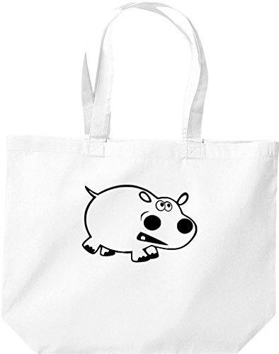 grande borsa della spesa, SHOPPER FUNNY animale ippopotamo Bianco