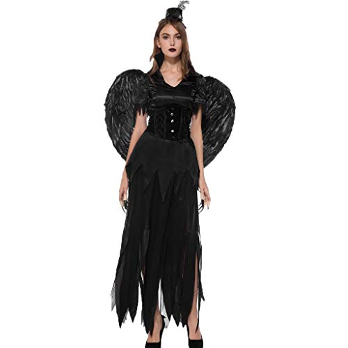 MasteriOne Halloween Schwarzer Engel Kleid Frauen Halloween Magie Hexe Kostüm Party Cosplay Langes Kleid Sexy Damen Halloween Kostüme Rock Hut Bluse - Anime Cosplay Kostüm Zum Verkauf Billig