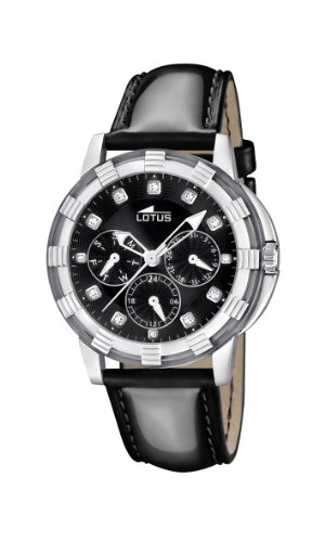 Lotus 15746/8 - Reloj analógico de cuarzo para mujer con correa de piel, color negro