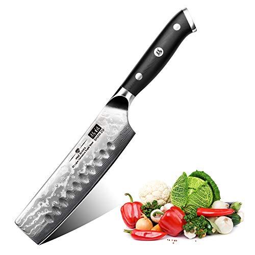 SHAN ZU Couteau de Cuisine Nakiri Damas, Couteau de Cuisine Damas, Couteau Japonais de 16,5 cm, Couteau à Légumes Professionnel, Couteau de Chef en Acier Damas de 67 étages, Manche G10