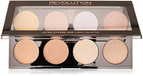 MAKEUP REVOLUTION Ultra Strobe and Light Palette - Highlighter mit 8 Schimmer-Nuancen - vegan, glutenfrei und tierversuchsfrei - 15 g -