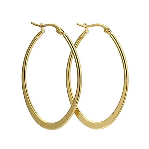 AMDXD Jewelry Stainless Steel Women's Hoop Earrings Circle Shape Golden 29.8MM