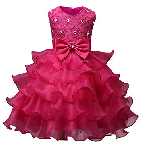 AIKSSOO Kid Infant Girl Bowknot Perlen Prinzessin Kleid Tiered Sleeveless Party Tutu (Color : Rose Red, Size : 80)