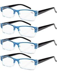 Eyekepper 4 paia occhiali da lettura presbiopia cerniere a molla uomo donna montatura rettangolare