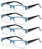Eyekepper 4 stueck Federn-Scharnier Lesebrille Blau +2.00