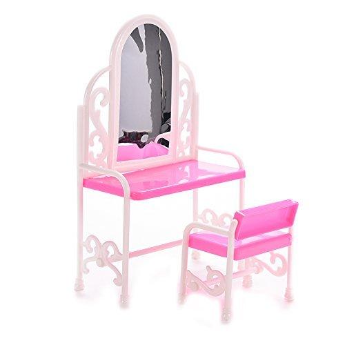 sishe Dollhouse Mini muebles de dormitorio tocador y silla para Barbies Muñecas (rosa)