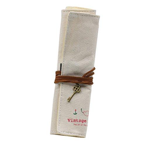 swiduuk Wrap Rolle Up Stationery Stift Pinsel Make-up-Bleistift Fall Tasche Leinwand Tasche Halter Einheitsgröße weiß (Bleistift Fall Leinwand Weiße)