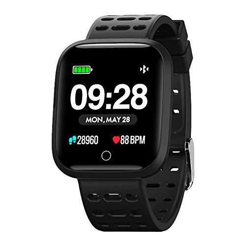 Azorex SmartWatch Multifunzione Fitness Activity Tracker Smart Watch Braccialetto Fitness Armband Sport Orologio Uomo Donna IP67 per IOS Android Cinturino in Metallo Nero Q88NE-MT