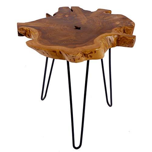 Riess Ambiente Massiver Teak Beistelltisch WILD 55cm Baumscheibe Couchtisch mit Jahresringen Holztisch
