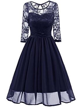 Amlaiworld Damen blumen Vintage Abendkleid elegant Hochzeit Kleider Retro party Klassische strickkleid Herbst...