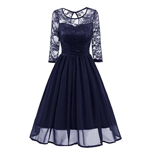 Amlaiworld Damen blumen Vintage Abendkleid elegant Hochzeit Kleider Retro party Klassische strickkleid Herbst Frühling abschlussball kleider (XL, Dunkelblau) (Kleid Design)
