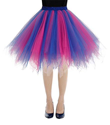 Bbonlinedress Kurz Retro Petticoat Rock Ballett Blase 50er Tutu Unterrock Royal Blue-Fuschia M