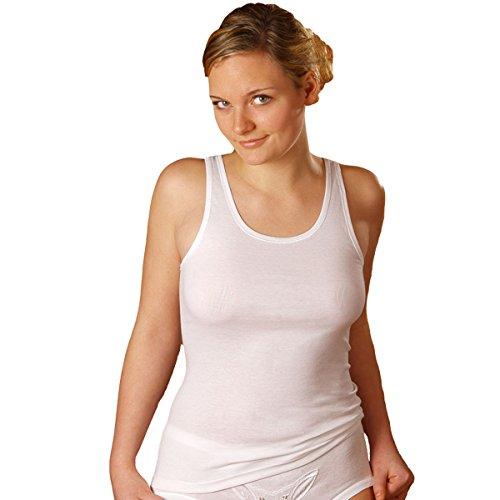 HERMKO 1310 5er Pack Damen Unterhemd aus 100% Baumwolle bis Größe 68/70, Farbe:weiß, Größe:40/42 (M) (Baumwoll-bh Sportliche)